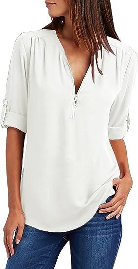 Tuopuda Mujer Blusas y Camisa Cuello V Camisetas Cremallera Gasa Blusas Sueltas Camisas de Manga Larga Ajustable Tops