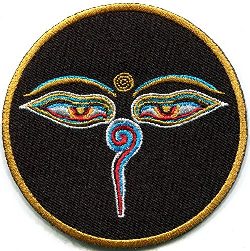 Eyes of Buddha Black Buddhist Trance aum om Yoga Peace Boho Embroidered Applique Iron-on Patch S-1050