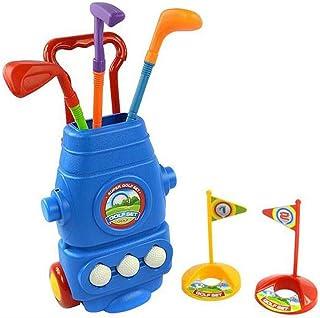 littlefun Kids Juego de carro de golf con 3tipos de clubes 2agujeros 3bolas Hand-Held de tracción Mango Play Golfista perfecto para exteriores para los niños
