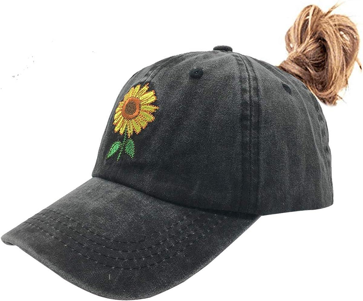 Waldeal Women's Ponytail Sunflowers Baseball Cap Adjustable Distressed Vintage Summer Dad Hat