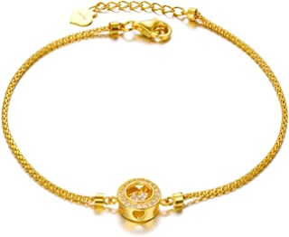 SISGEM 18K Yellow Gold Bracelets for Women, Real Gold Adjustable Bracelet, Cubic Zirconia Gold Chain Bracelet, 6.7