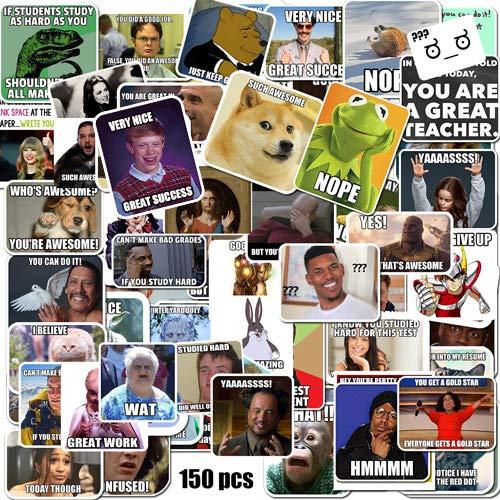 Meme-Sticker/Meme-Belohnungsaufkleber für Lehrer, 150 Stück, keine Duplikate, 7,6 cm