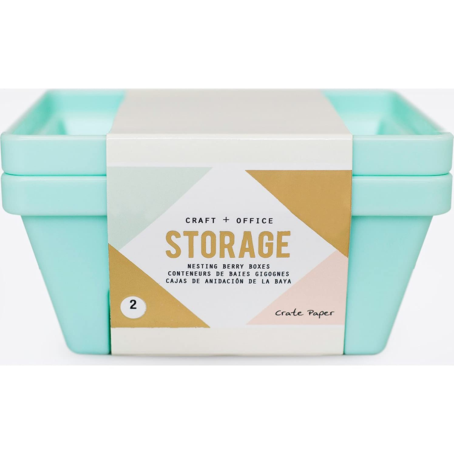 American Crafts Crate Paper Desktop Storage Nesting Berry Containers 2 Piece