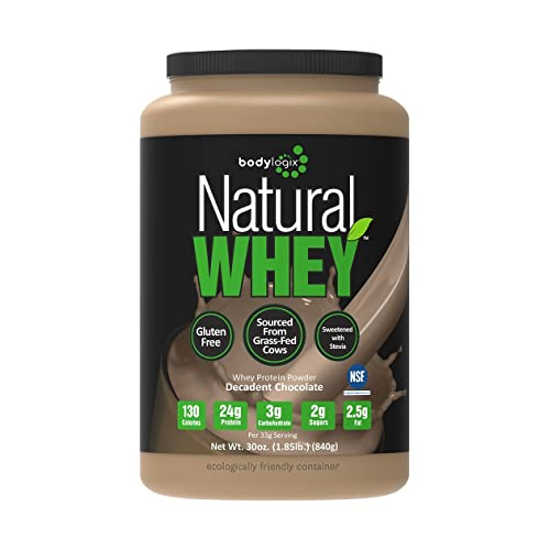 Bodylogix Natural Grass-Fed Whey Protein Powder, Decadent Chocolate, 1.85 Pound