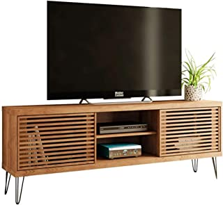 Farmhouse TV Stand 70 Inches TV With Wood-Slat Sliding Doors Industrial Modern Design