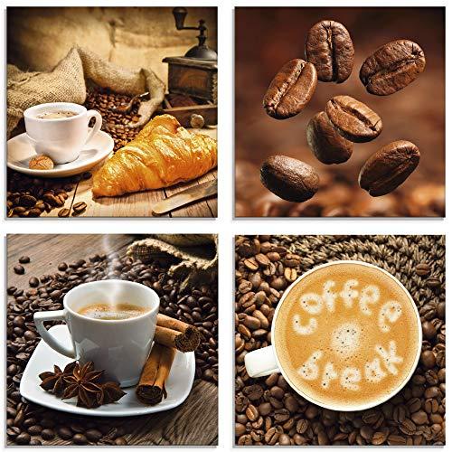 Artland Glasbild Wandbild Glas Bild 4er Set 4 teilig je 20x20 cm Essen Getränke Kaffee Coffee Time Cafe Braun Tasse Croissant Kaffeebohnen S6BS