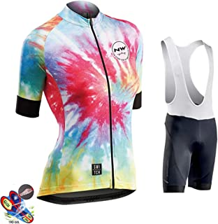 Women's Cycling Jersey And Shorts Set Short Sleeved Bike Jersey Breathable Clothing 19D Gel Pad Shorts Quick-Dry,B,4XL