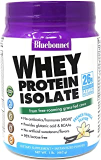 Bluebonnet Nutrition Whey Protein Isolate Powder Free-Roaming Grass-Fed Cows with BCAAs & Glutamic Acid Supports Muscle Gr...
