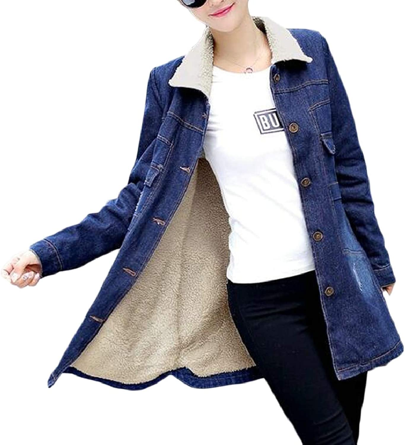 RGCA Women's Thicken Lambs Denim Jacket Loose Jean Coat