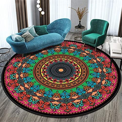 Nordic Folk Style Retro Non-Slip Carpet Round Absorbent Balcony Coffee Table Living Room Decoration Floor Mat Hotel Party Halloween Carpet