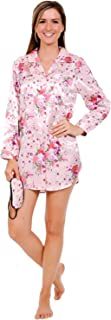 Del Rossa Womens Satin Printed Nightshirt, Boyfriend Style Sleepshirt with Mask