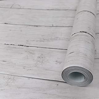 White Gray Wood Paper 17.71 in X 118 in Self-Adhesive Removable Wood Peel and Stick Wallpaper Decorative Wall Covering Vintage Wood Panel Interior Film