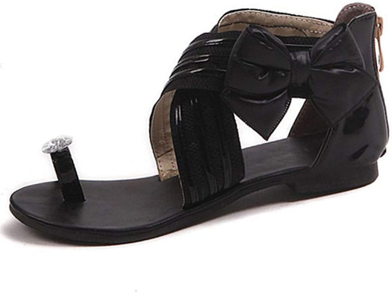 Women Flats Sandals Bowknot Zipper Rhinestone Flats Flip Flops Zipper Summer shoes Women shoes