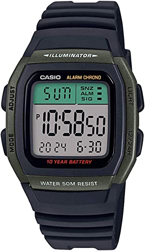 Casio Digital Green Dial Unisex's Watch-W-96H-3AVDF (D175)