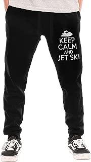 BibiQQgait Mens Jogger Sweatpants Keep Calm and Jet Ski Casual Stretch Cotton Jersey Pant