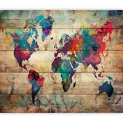 murando Papier peint intissé Monde 350x256 cm Décoration Murale XXL Poster Tableaux Muraux Tapisserie Photo Trompe l'oeil Bois colorato Viaggio k-C-0109-a-a
