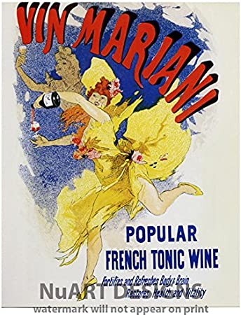 Vintage Art Nouveau Advertisement Reproduction Giclee Poster Vin Mariani Popular French Tonic Wine Posters Prints Amazon Com