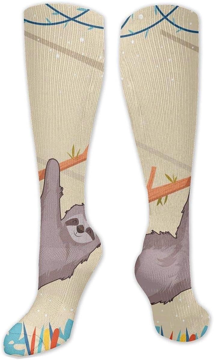 Cute Sloth Knee High Socks Leg Warmer Dresses Long Boot Stockings For Womens Cosplay Daily Wear