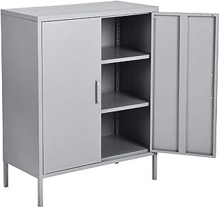 MEUBLE COSY Grand Espace Armoire Chambre métallique 3 Couches Meubles de Rangement pour Salon 2 Portes Buffet Cuisine, Gri...