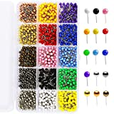 900 Pieces Multi-Color Push Pins Map Tacks,1/8 Inch Round Head with Stainless Point, in Reconfigurable Container for Bulletin Board, Fabric Marking, Map Pins (15 Assorted Colors)