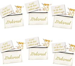 Ibride Bridesmaid - Canvas Cosmetic Pouches for Wedding Favors and Proposal Card with Rose Love Knot Bracelets