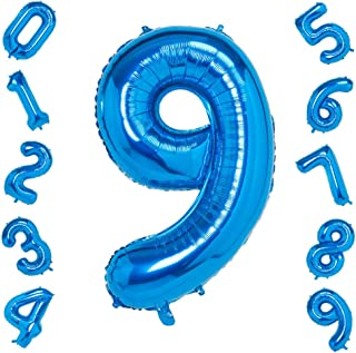 Blue Number 9 Balloons,40 Inch Birthday Number Balloon Party Decorations Supplies Helium Foil Mylar Digital Balloons (Blue Number 9)