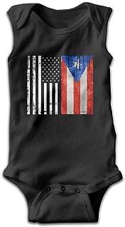 lovely baby-Z American Puerto Rico Flag Funny Baby Bodys Ärmellos Strampler Jumpsuit Schwarz