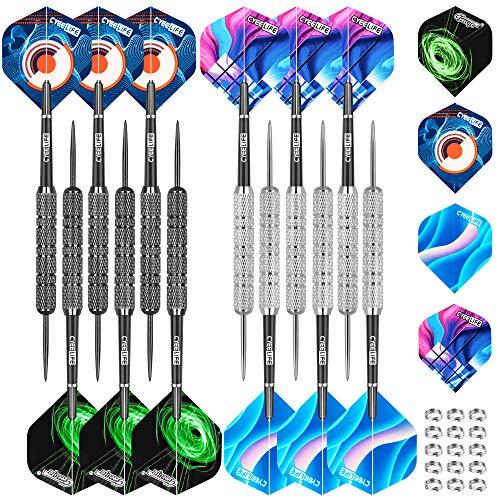 CyeeLife Steel Tip Darts Set 20 Grams with PVC Dart shafts,Black&Sliver...