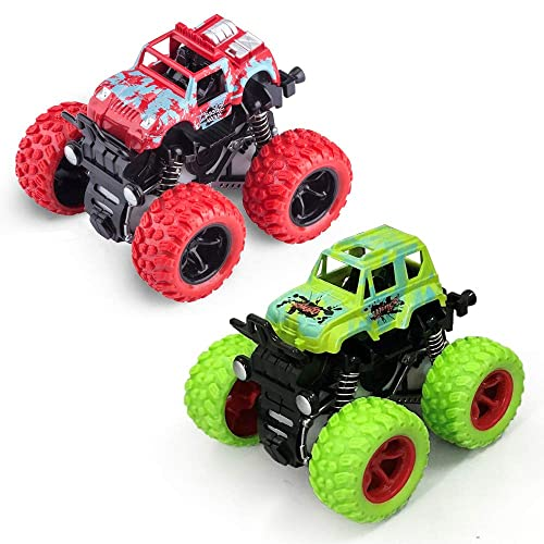 Monster Trucks Toys, Monster Trucks Inertia Car Toys Friction Powered Cars for Kids -2 Pack (Red and Green)