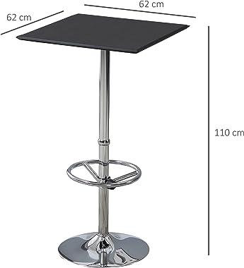 HOMCOM Table de Bar carrée Table Bistro Chic Style Contemporain Repose-Pied Hauteur réglable dim. 62L x 62l x 110H cm métal c