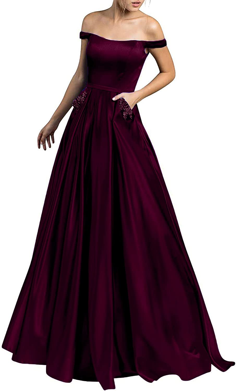 Beauty Bridal V Neck Off Shoulder Lace and Satin A line Prom Formal Evening Dress