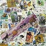 Animaux Sauvages Briefmarken-Sammlung Wildtiere, abgestempelte Marken, verschiedene Motive, 100 Stück