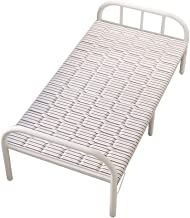YI GAO Office Single Lunch Break Office Nap Simple Portable Home Escort Rental Adult Wooden Iron Bed Silver Gray Stripes, ...