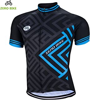 ZEROBIKE Men's Short Sleeve Cycling Jersey Jacket Breathable Quick Dry Outdoor Sports Wear