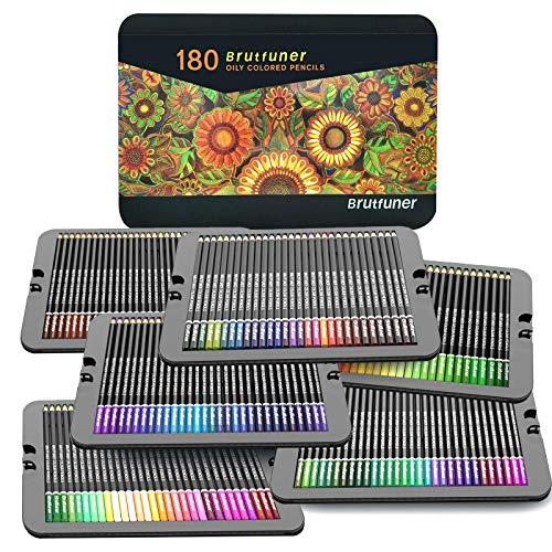 Lápices de colores, juego profesional de 180 colores en una caja de lata, núcleos a base de cera suave numerados, para dibujar, dibujar, sombrear y colorear, juego de lápices para colorear para niños