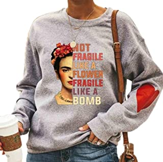 Kewing T-Shirt con Cappuccio da Donna con Pittura a Olio T-Shirt con Stampa Grafica a Maniche Lunghe Girocollo T-Shirt Div...