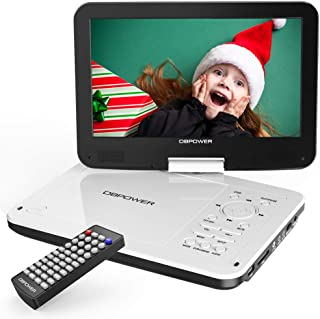 """DBPOWER 12"""" Portable DVD Player with 5-Hour Rechargeable Battery, 10"""" Swivel Display Screen, SD Card Slot and USB Port, with 1.8 Meter Car Charger and Power Adaptor, Region Free-White"""