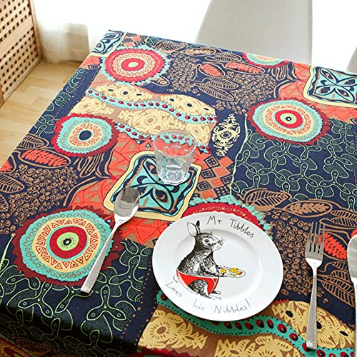N/K Living Room Accessories Ethnic Bohemian Tablecloths Washable Cotton Linen Table Cloth Vintage Oriental Inspired Traditional Dinner Picnic s-a 130x180cm(51x71inch)
