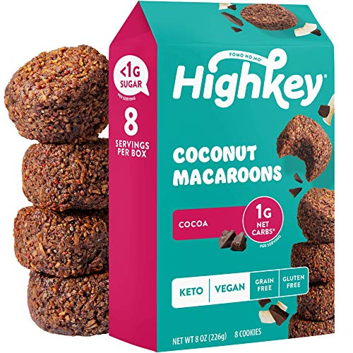 HighKey Snacks Keto Food Low Carb Snack Cookies, Coconut Macaroons - Gluten Free & No Sugar Added, Healthy Diabetic, Paleo, Dessert Sweets, Diet Foods - Cocoa