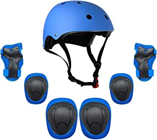 Lixada Kids 7 in 1 Helmet and Pads Set Adjustable Kids Knee Pads Elbow Pads Wrist Guards for Scooter Skateboard Roller Ska...