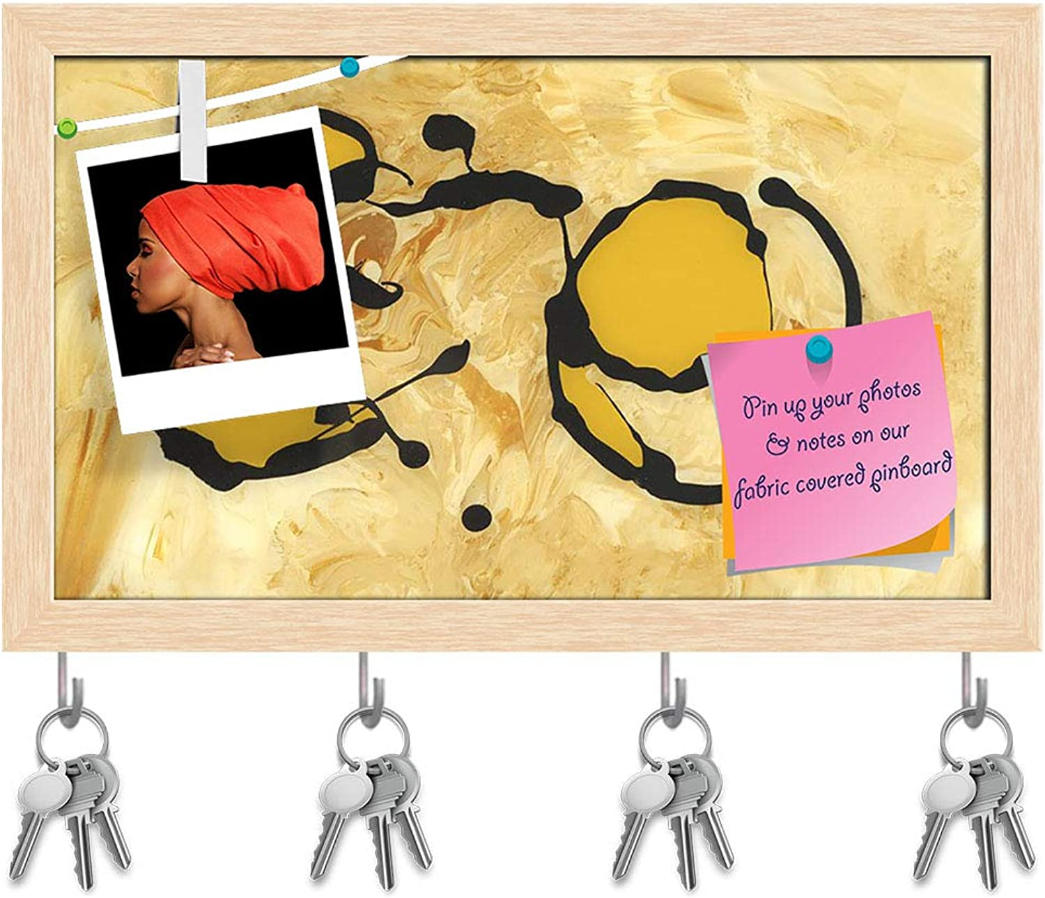 Artzfolio Abstract Artwork D226 Key Holder Hooks   Notice Pin Board   Natural Brown Frame 16.5 X 10Inch