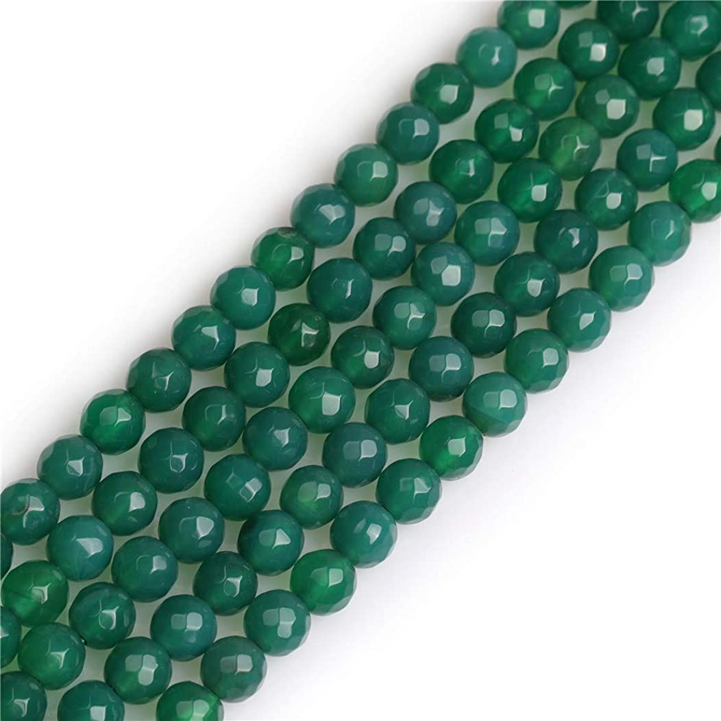 GEM-Inside Green Agate Gemstone Loose Beads 6mm Round Faceted Gemstone Energy Stone Power Beads for Jewelry Making 15
