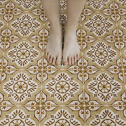 20X20cm Braun Selbstklebende Bodenfliese Vinyl Bodenfliesen Effektfolie Wasserdichter PVC Boden für Küche Badezimmer 10 Stück Wasserdicht Rutschfest(braun)