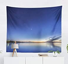 Beautiful Sunset Dusk Wall Tapestry,Tapestry Wall Hanging Beautiful Sunset Dusk with Stars Sky Night Star WallArt for Bedroom Living Room Tablecloth Dorm Decor 60x50 Inches, Beautiful Sunset