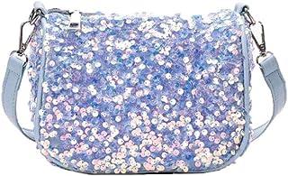 Sequin underarm bag, versatile shoulder bag, chain crossbody saddle bag, pu female bag, mobile phone, lipstick, wallet, etc, street carry bag (Color : White, Size : One size)