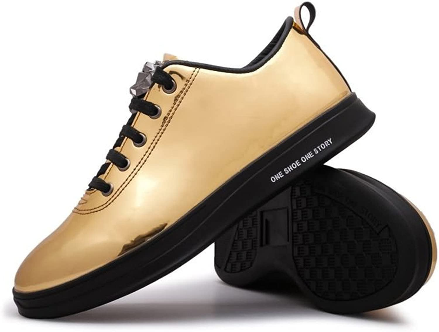 JIALUN-shoes New Men's Fashion Sneaker Flat Heel Lace Up Patent Leather Casual shoes