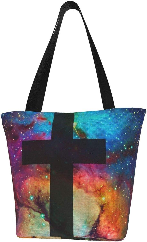 Jesus Christ Lord Cross Of Stars Themed Printed Women Canvas Handbag Zipper Shoulder Bag Work Booksbag Tote Purse Leisure Hobo Bag For Shopping