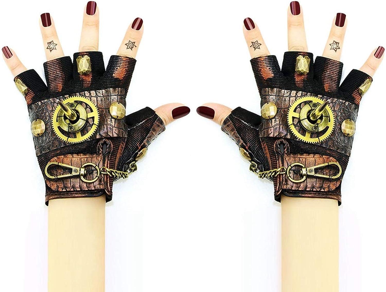 KERVINFENDRIYUN YY4 Getriebe und niet Gothic Handmade Leder halbe fingerhandschuhe Getriebe niet zubehr Punk Rock Frauen mnner Vintage Halloween Steampunk Cosplay Requisiten