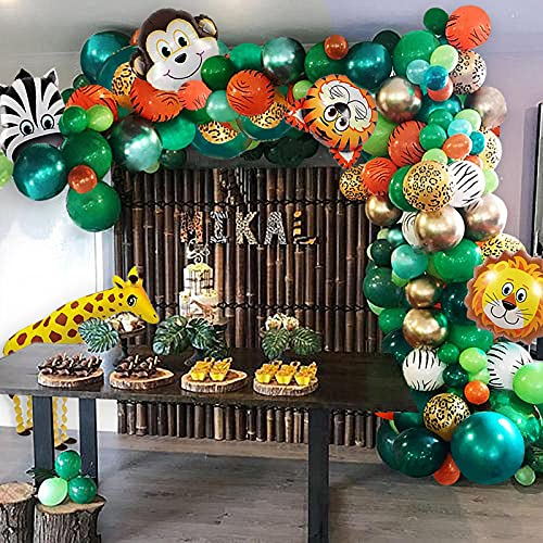 151Pcs Jungle Party Balloon Arch Kit with Green Balloon Animal Balloons Artificial Tropical Palm Leaves for Birthday Baby Shower Jungle Theme Party Theme Party Decorations