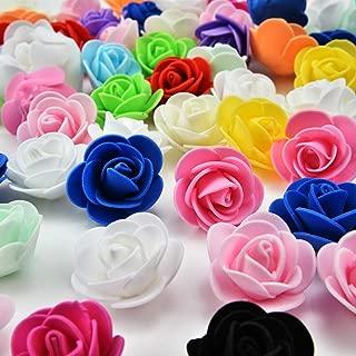 Silk Flowers in Bulk Wholesale Mini PE Foam Rose Flower Head Artificial Rose Flowers Handmade DIY Wedding Home Decoration Festive & Party Supplies 50pcs/lot 3cm (Multicolor)